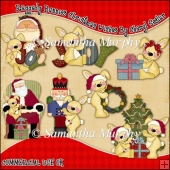 Raggedy Bunnies Christmas Wishes ClipArt Graphic Collection
