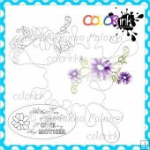 Swirly Flowers and Sentiment Digital Stamps