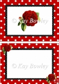 Lovely red polkadot frame with roses A5 Insert