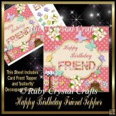 Happy Birthday 'Friend' Butterfly Topper