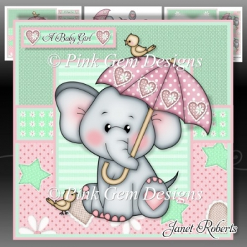 Ella with Umbrella Pink Mini Kit - New Baby/Baby Shower