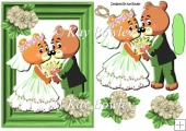 Lovely bear wedding couple in green frame A5
