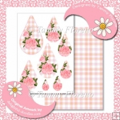 Coral Rose Teardrop Pyramage with Matching Plaid Backing Paper