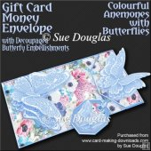 Colourful Anemones with Butterflies Card/Money Envelope Mini Kit