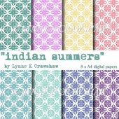 """INDIAN SUMMERS"" - 8 x A4 high quality digital papers CUOK"