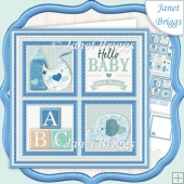 NEW BABY BOY SQUARES 7.5 Decoupage & Insert Mini Kit