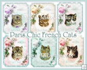 Paris Chic French Cats Set of 6 Vintage Toppers