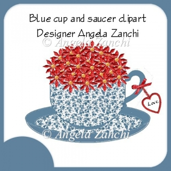 BLUE CUP AND SAUCER CLIPART