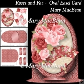 Roses and Fan - Oval Easel Card
