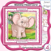 I REMEMBERED! ELEPHANT WOBBLY HEAD CARD 7.5 Decoupage Insert Kit