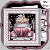 CHRISTMAS BEETLE CAR 7.5 Decoupage & Insert Mini Kit