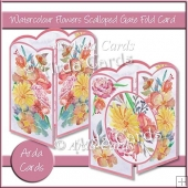 Watercolour Flowers Scalloped Gate Fold Card