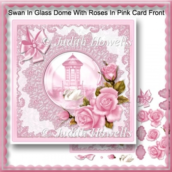 Swan In Glass Dome With Roses In Pink Card Front