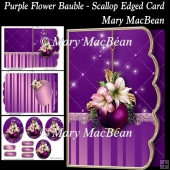 Purple Flower Bauble - Scallop Edged Card
