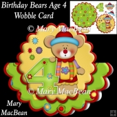 Birthday Bears Age 4 Wobble Card