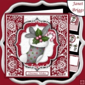 CHRISTMAS STOCKING PLUM & SILVER 7.5 Decoupage Insert Quick Card