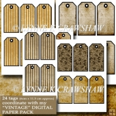VINTAGE - 24 printable TAGS match my VINTAGE digital paper pack