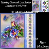Morning Glory and Lace Border Decoupage Card Front