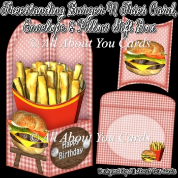 Freestanding Burger N Fries Card & Envelope & Pillow Gift Box