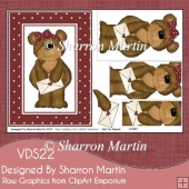 VDS22 Valentine's Bear Large A5 Card Front or Topper with Layers