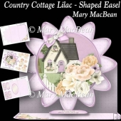 Country Cottage Lilac- Shaped Easel Card