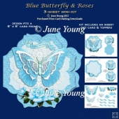 Blue Butterfly & Roses - 3-Sheet Mini-Kit
