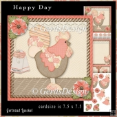 Happy Day Rooster Topper Cardkit peach
