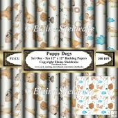 Puppy Dogs - Ten 12 x 12 Backing Papers Set One