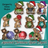 Assorted Christmas Bears Clipart