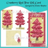 Cranberry Red Tree DL Card with Decoupage