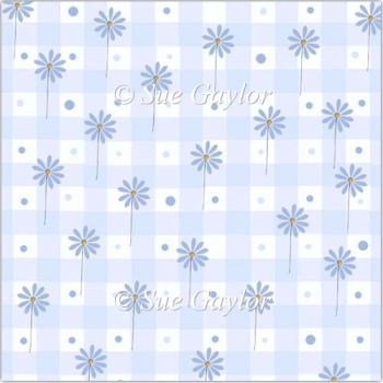 Country Check + Flowers (blue) Backing Paper