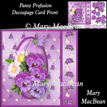 Pansy Profusion Decoupage Card Front