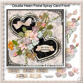 Double Heart Floral Spray Card Front