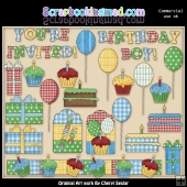 Birthday Boy Elements ClipArt Collection