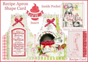 Fresh Baked Apron Shaped Recipe Card with Pocket Insert