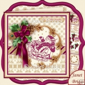Holly Ribbon & Plum Santa 8x8 Decoupage & Insert Kit