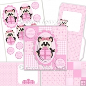 Birthday Girl Panda Mini Square Front Card