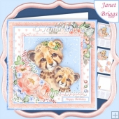 CHEETAH MUM & CUB 7.5 Decoupage & Insert Card Kit