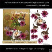 Field Flowers and Nesting Birds Topper with Decoupage