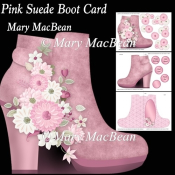Pink Suede Boot Card