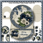 Ivory And Blue Plate Easel Card Kit