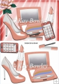Pretty ladies peach Makeup & Accessories with glitter mobile A5