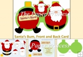 Santa's Bum Front & back Bauble card, decoupage, template insert
