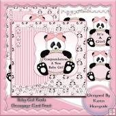 Baby Girl Panda Decoupage Card Front