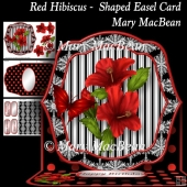 Red Hibiscus - Shaped Easel Card