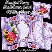 Fanciful Pansy Tri Shutter Card Set
