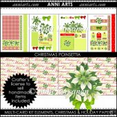 Christmas Poinsettia Card Kit and Background Papers