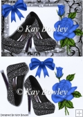 Black diamante shoes with blue rose A5