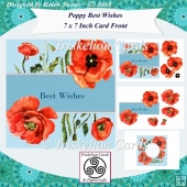 Poppy Best Wishes 7 x 7 Inch Card Front Topper with Decoupage