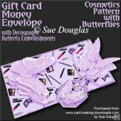 Cosmetics Pattern with Butterflies Gift Card/Money Envelope Kit